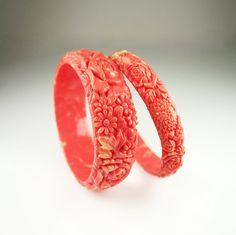 Art Deco Bracelet Coral Carved Celluloid Floral by zephyrvintage