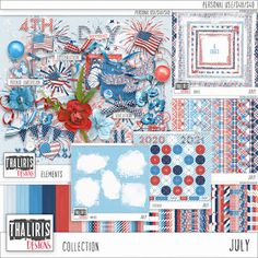 Scrap de Miho: Juilletde Thaliris Designs Sa nouvelle collection... And July, Site Design, Pattern Paper, July 4th, Traditional Art, Independence Day, Summer Collection, Navy And White, Digital Scrapbooking