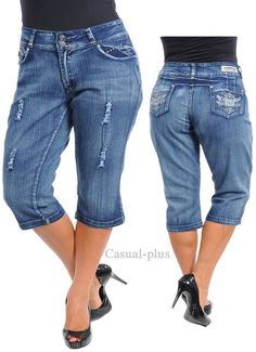 Dark Virtual Stretch™ Cuffed Denim Capri | Plus Size Denim ...