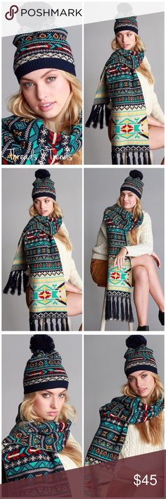Navy Nordic Jacquard Scarf & Beanie Set Fabulous look!!! Navy Nordic print jacquard knit scarf with fringe detail and matching beanie. Too cute for the holidays. Makes a perfect gift. Grab this set before they are gone. Sold as a 2 piece set. Cannot be sold separately. Threads & Trends Accessories Scarves & Wraps