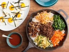 KOREAN SKILLET RICES (Bibimbap) : Recipes : Cooking Channel: Recipe Courtesy of Esther Choi