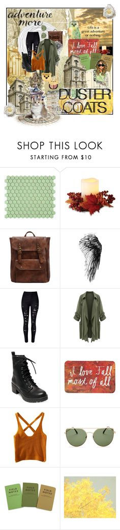 """""""Duster Coats - Roaming City Streets"""" by alightinthedarkwood ❤ liked on Polyvore featuring Merola, Lenox, WithChic, Madden Girl, Quay, Therapy, Monday, StreetStyle, city and cafe"""