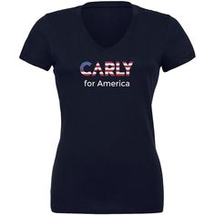 Election 2016 Carly Fiorina For President Navy Juniors V-Neck T-Shirt