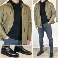 Four ways to wear a classic field jacket 👌🏼🔥👍🏼👍🏼 Which outfit is your favorite❓ swipe left to see th. Smart Casual Outfit, Casual Wear For Men, Tomboy Fashion, Mens Fashion, Fashion Trends, Gq Mens Style, Style Masculin, Stylish Men, Foto E Video