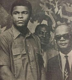 From the archives of Gen. Sec. Ashton Ford: Late greats:-  Dr. Eric Eustace Williams, first Prime Minister of the Republic of Trinidad and Tobago and founder of the People's National Movement, right,  Muhammad Ali, left,  And  Boxing promoter H.A. Clarke