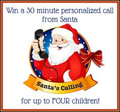 Win a 30 minute personalized call from Santa for up to four children! #MissionGiveaway ends 11/2