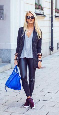 #fall #fashion / casual + leather