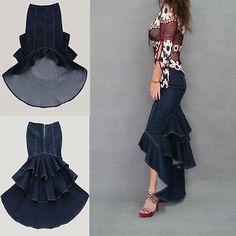 Bohemia-American-Apparel-Denim-Long-Maxi-Skirts-Womens-Jeans-Mermaid-Fishtail