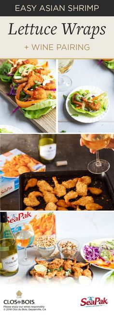 For a fresh meal idea that promises to please check out this pairing of Clos du Bois Chardonnay and Asian Shrimp Lettuce Wraps. Made with SeaPak Butterfly Shrimp and topped with sesame ginger sauce crunchy veggies and more you won't believe how easil Fish Recipes, Seafood Recipes, Asian Recipes, Cooking Recipes, Healthy Recipes, Oriental Recipes, Healthy Treats, Cooking Ideas, Dressings