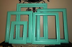Five Vintage Upcycled Picture Frames Seafoam by FurnitureFusion
