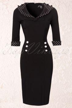 Bunny - 50s Thelma Pencil Dress black white polka