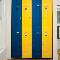 Bi fold closet doors painted to look like lockerz
