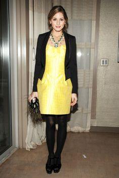 Olivia Palermo wearing Yves Saint Laurent Tribute Platform Sandals, Armani Exchange Satin Trim Tuxedo Jacket and Versace Dress.