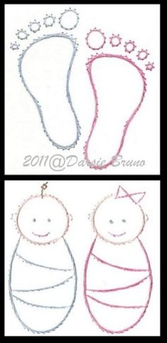 Baby Miniature Embroidery Pattern for Greeting Cards by Darse, $1.50
