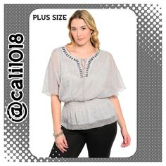 """🔴40% OFF RED DOT BUNDLES OF 3 OR MORE 500+ ITEMS This loose sheer peplum style top features a split neckline with tied string accent. Stretch, smocked banded waist. Jeweled neckline.                                          Country: USA Fabric Content: 100% POLYESTER Size: 1XL-2XL-3XL Description: B: 24"""" W: 15"""" L: 26"""" Glam Squad 2 You Tops Blouses"""