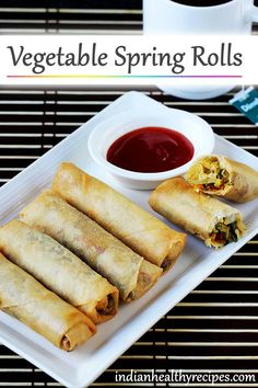 Chinese veg spring rolls recipe - Vegetable spring rolls made with mixed vegetables and frozen sheets . These make a great tea time snack and can also be served as a side in a Chinese meal. Chinese Spring Rolls, Baked Spring Rolls, Vegetable Spring Rolls, Chicken Spring Rolls, Thai Spring Rolls, Chinese Appetizers, Popular Appetizers, Italian Appetizers, Appetizer Recipes