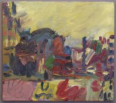 Frank Auerbach - Looking Towards Eversholt Street III 2003 Frank Auerbach, Leon Kossoff, Contemporary Paintings, Abstract Art, Abstract Landscape, Abstract Expressionism, Painting Inspiration, New Art, Painting & Drawing