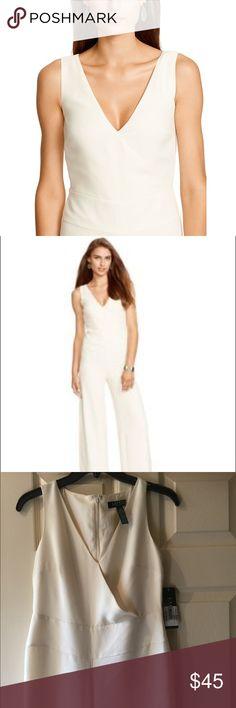Ralph Lauren cream/off white jumpsuit Classy and just lovely Ralph Lauren off white jumpsuit with wide legs Lauren Ralph Lauren Pants Jumpsuits & Rompers