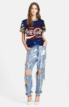 ded1fa64c Always Coca Cola, Coca Cola Ad, Jean Top, Sequin Jeans, Embellished Jeans