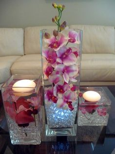 Teal/ Turquoise hand painted Orchids in 3 Pc. Vase and floating candles. Decoration Table, Table Centerpieces, Wedding Centerpieces, Wedding Decorations, Centerpiece Ideas, Wedding Ideas, Purple Centerpiece, Wedding Pictures, Clear Glass Vases