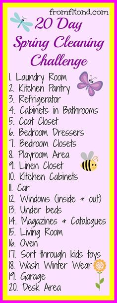 20 Day Spring Cleaning Challenge. I am definitely loving this idea!