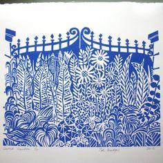 Gated Garden linocut print. van Zebedeeprint op Etsy