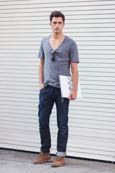 Rolled up jeans and a v-neck. Plus those shoes. It can't get much better.