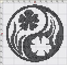 Cool yin-yang style floral pattern / chart for cross stitch, crochet, knitting, knotting, beading, weaving, pixel art, and other crafting projects.