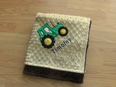 Personalize Minky Baby Blanket - Tractor Applique - Choice of Colors by LullabyGardens on Etsy