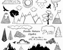Doodle Nature Clipart, Hand Drawn Mountain Clipart, Clouds clip art, PNG, EPS, AI, vector, For Personal and Commercial Use