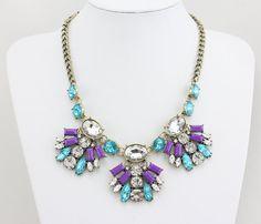 Statement Necklace, Purple Statement Necklace With Rhinestones