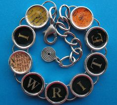 I Write Bracelet Writers Authors Writing Literary Jewelry Silver Colored on Etsy, $25.95