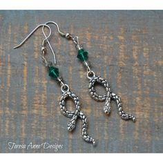 Snake Earrings, Green and Silver Snake Earrings, Nickel Free, Snake... ($18) ❤ liked on Polyvore featuring jewelry, earrings, snake earrings, silver snake jewelry, nickel free earrings, green silver earrings and green earrings