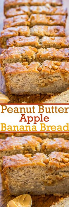 Peanut Butter Apple Banana Bread - Jazz up regular banana bread with peanut butter and apples! A perfect combo that tastes amazing together! Fast, easy, no mixer required, and a hit with everyone!(Apple Recipes With Biscuits) Banana Bread Recipes, Apple Recipes, Sweet Recipes, Apple Desserts, Apple Banana Bread, Delicious Desserts, Yummy Food, Peanut Butter Recipes, Dessert Bread