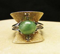 Vintage Estate Art Deco 14K White and Yellow Gold Jade and Diamond Ring  by Alohamemorabilia