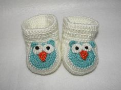 crochet owl baby booties by pitterpatterbabygift