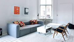 Sofa og tæppe i hvid uld fra hay