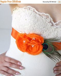 Orange Peacock Bridal Sash, Wedding Sash, Bridal Flower Sash, Bridesmaids Dress Sash, Wedding Dress Belt, Peacock Bridal Sash, Wedding Belt