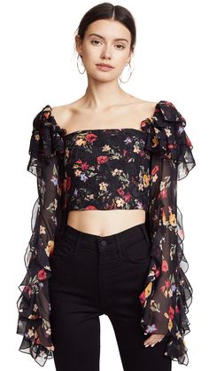 Rodarte Square-neck Floral-print Silk-blend Blouse In Multi Cute Fashion, Girl Fashion, Fashion Dresses, Womens Fashion, Fashion Design, Trendy Outfits, Cute Outfits, Moda Vintage, Crop Blouse