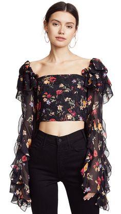Rodarte Square-neck Floral-print Silk-blend Blouse In Multi Trendy Outfits, Cute Outfits, Cute Fashion, Womens Fashion, Moda Vintage, Crop Blouse, Blouse Designs, Fashion Dresses, Style Inspiration