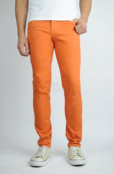 "Versace Collection /""Trend/"" Men/'s Orange Stretch Straight Leg Jeans Size 40 42"