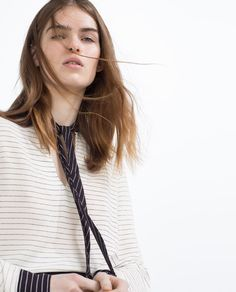Image 6 of STRIPED BLOUSE WITH CONTRAST BOW from Zara