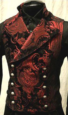 gothic men's red vest More