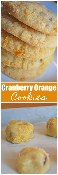 Cranberry Orange Cookies - sugar cookes filled with dried cranberries and orange zest, and rolled in sugar and orange zest before baking. They make great Christmas cookies!