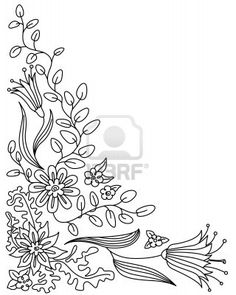 Abstract floral doodle  frame Stock Photo