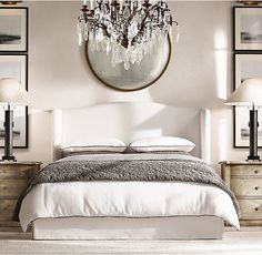 RH's Bedroom Collections:At Restoration Hardware, you& explore an exceptional world of high quality unique bedroom furniture. Browse our selection of traditional bedroom furniture & bedroom sets from Restoration Hardware. Home Bedroom, Bedroom Wall, Master Bedroom, Bedroom Decor, Mansion Bedroom, Ikea Bedroom, Bedroom Sets, Mirror Over Bed, Above Headboard Decor