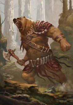 Reference for the ursair. Fantasy Kunst, Dark Fantasy Art, Fantasy Artwork, Fantasy Rpg, Fantasy Races, Fantasy Warrior, Mythical Creatures Art, Fantasy Creatures, Bear Character