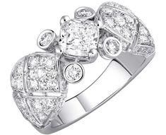 """Signature White Tie"" ring in18K white gold set witha 1-carat cushion-cut diamond and 76 brilliant-cut diamond  ""Signature de  Chanel"" Collection"