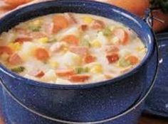 I tried this soup tonight because I had some sausage to use. The recipe calls for kielbasa, but I had a package of Aidells chicken sausage (mango and jalapeno). It turned out great with that, and the sausage all by itself is Amish Recipes, Soup Recipes, Cooking Recipes, Recipies, Ww Recipes, Chili Recipes, Crockpot Recipes, Dinner Recipes, Aidells Chicken Sausage