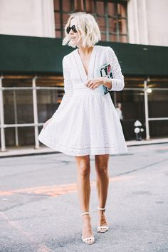 Casual short white lace dress